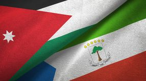 Jordan and Equatorial Guinea two flags textile cloth, fabric texture. Jordan and Equatorial Guinea two folded flags together royalty free illustration