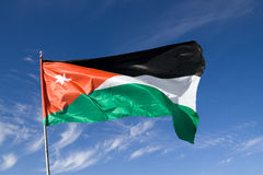 Jordan flag. Waving on a sunny and windy day in Petra Royalty Free Stock Photo