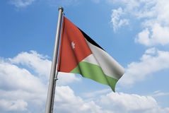 Jordan Flag with Clouds Royalty Free Stock Photos