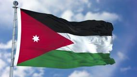 Jordan Flag in een Blauwe Hemel Royalty-vrije Stock Foto's