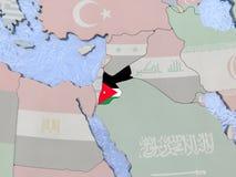 Jordan with flag on globe Stock Image