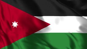 Jordan Flag - 4K realístico - bandeira de 30 fps de Jordânia que acena no vento
