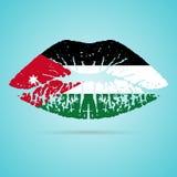 Jordan Flag Lipstick On The-Lippen op een Witte Achtergrond worden geïsoleerd die Vector illustratie Royalty-vrije Stock Fotografie