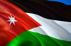 Jordan Flag projeto de ondulação da bandeira 3D O símbolo nacional de Jordânia, rendição 3D Cores nacionais do sinal de ondulação ilustração stock