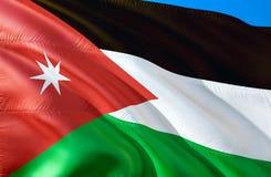 Jordan Flag projeto de ondulação da bandeira 3D O símbolo nacional de Jordânia, rendição 3D Cores nacionais e bandeira nacional d ilustração do vetor