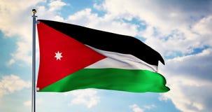 Jordan flag waving in the wind shows jordanian symbol of patriotism - 4k 3d render. Jordan flag waving in the wind shows jordanian symbol of patriotism. Flagpole stock video