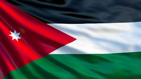 Jordan Flag Wellenartig bewegende Flagge von Illustration Jordaniens 3d stock abbildung