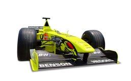 Jordan Formula 1 car. Yellow Jordan Formula 1 car isolated on white Royalty Free Stock Image