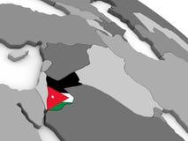 Jordan on globe with flag Royalty Free Stock Image
