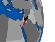 Jordan on globe with flag Royalty Free Stock Photography