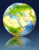 Jordan on globe with reflection. Illustration with detailed planet surface. Elements of this image furnished by NASA Stock Photos