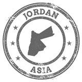 Jordan grunge rubber stamp map and text. Royalty Free Stock Photography
