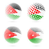 Jordan halftone flag set patriotic vector design. 3D halftone sphere in Jordan national flag colors  on white background Royalty Free Stock Photo
