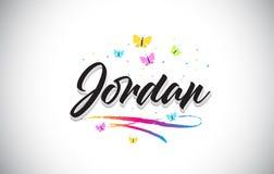 Jordan Handwritten Vetora Word Text com borboletas e Swoosh colorido ilustração do vetor