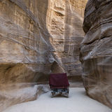 Jordan. Horse carriage in the Petra canyon Stock Image