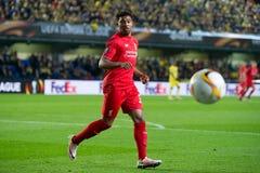 Jordan Ibe-spelen bij de Europa gelijke van de Ligahalve finale tussen Villarreal CF en Liverpool FC Stock Afbeeldingen