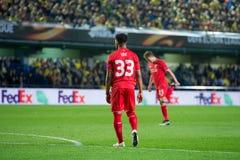 Jordan Ibe-spelen bij de Europa gelijke van de Ligahalve finale tussen Villarreal CF en Liverpool FC Royalty-vrije Stock Afbeeldingen