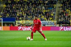 Jordan Ibe-spelen bij de Europa gelijke van de Ligahalve finale tussen Villarreal CF en Liverpool FC Royalty-vrije Stock Foto's