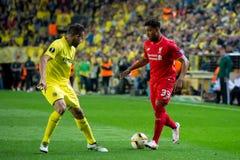 Jordan Ibe-spelen bij de Europa gelijke van de Ligahalve finale tussen Villarreal CF en Liverpool FC Stock Foto