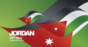 Jordan Independence Day flag ribbon landscape background. Banner greeting card Royalty Free Stock Images