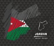 Jordan map with flag inside on the black background. Chalk sketch vector illustration. Vector sketch map of Jordan with flag, hand drawn chalk illustration Royalty Free Stock Image