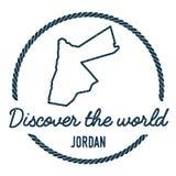 Jordan Map Outline Le vintage découvrent le monde Photographie stock libre de droits