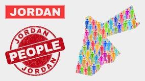 Jordan Map Population Demographics e selo do selo do Grunge ilustração royalty free