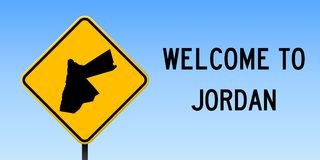 Jordan map on road sign. Wide poster with Jordan country map on yellow rhomb road sign. Vector illustration stock illustration