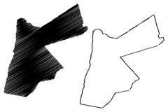 Jordan map vector. Illustration, scribble sketch The Hashemite Kingdom of Jordan Stock Images