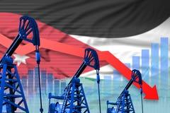 Lowering, falling graph on Jordan flag background - industrial illustration of Jordan oil industry or market concept. 3D. Jordan oil industry concept, industrial stock illustration