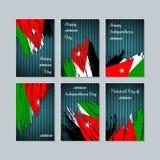 Jordan Patriotic Cards per la festa nazionale illustrazione di stock
