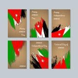 Jordan Patriotic Cards voor Nationale Dag Stock Afbeeldingen