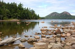 Low view of Jordan Pond. Low view of clear water of Jordon Pond in Maine highlighting rocky shoreline with treed hills on opposite shore Stock Image