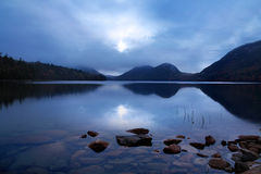 Jordan Pond. Sunset Over The Bubbles And Jordan Pond, Acadia National Park, Maine, USA Stock Image