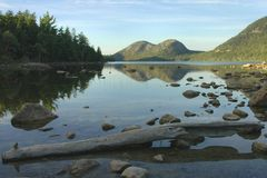 Jordan Pond, Acadia. Late day reflections on Jordan Pond, captured in Acadia National Park, Maine Royalty Free Stock Images