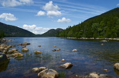Jordan Pond Acadia National Park. Landscape photograph of Jordan Pond in Acadia National Park. The walk around the lake is 3.6 miles, partially crossing a royalty free stock photo