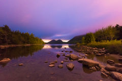 Jordan Pond in Acadia National Park. The Bubbles and Jordan Pond at night in Acadia National Park, Maine, USA Royalty Free Stock Image