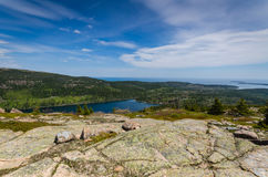 Jordan Pond - Acadianationalpark - Maine Arkivfoton