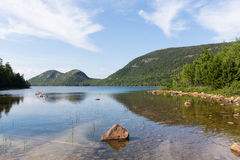Jordan Pond and the Bubbles. This is a view of Jordan Pond in Acadia National Park. In the background are two mountains called the Bubbles Royalty Free Stock Image