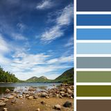 Jordan Pond colour palette 2. Jordan Pond, Acadia National Park, Mount Desert Island, maine, USA. In a colour palette with complimentary colour swatches Stock Images