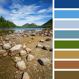 Jordan Pond colour palette. Jordan Pond, Acadia National Park, Mount Desert Island, maine, USA. In a colour palette with complimentary colour swatches Royalty Free Stock Photography