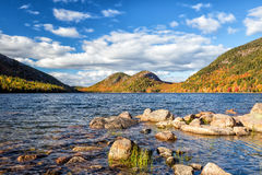 Jordan Pond i Acadianationalpark Fotografering för Bildbyråer