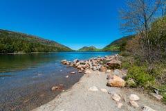 Jordan Pond i Acadianationalparken, Maine Fotografering för Bildbyråer