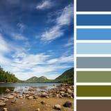 Jordan Pond-kleurenpalet 2 Stock Afbeeldingen