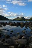 Jordan Pond, Maine. On a bright and cloudy day Stock Image