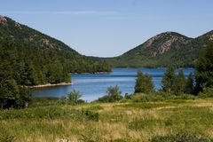 Jordan Pond and mountains. Jordan Pond and Bubble Mountains, Mount Desert Island, Acadia National Park, Maine USA Stock Photography