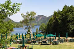 Jordan Pond. Outdoor dining area over looking Jordan Pond at Acadia National Park in Maine. Image shot before restaurant opened Stock Images