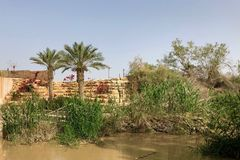 Jordan River divides the borders between Israel and Jordan. In the Middle East Royalty Free Stock Photography