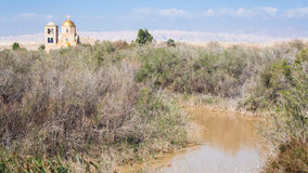 Jordan River and Greek Orthodox Church in winter Royalty Free Stock Images