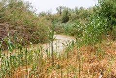 Jordan river , Israel. The baptismal site Qasr al Yahud in the Jordan river , Israel stock photo